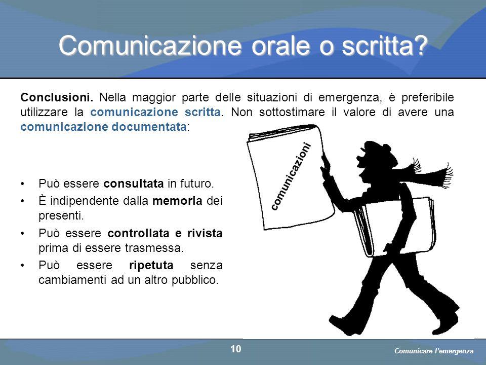 Comunicazione orale o scritta