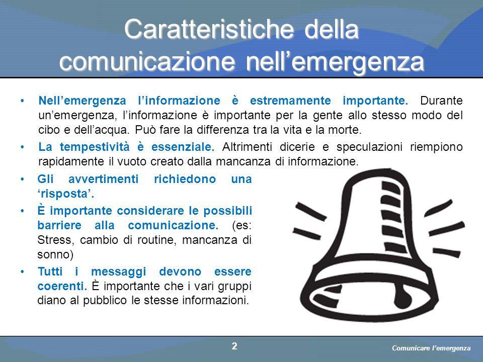 Caratteristiche della comunicazione nell'emergenza