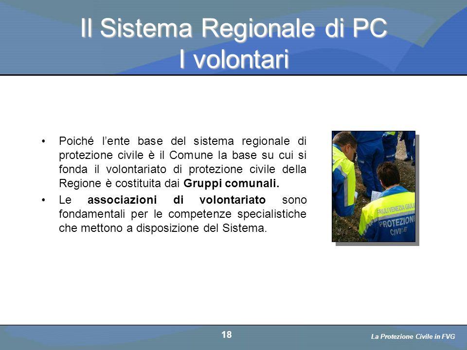 Il Sistema Regionale di PC I volontari