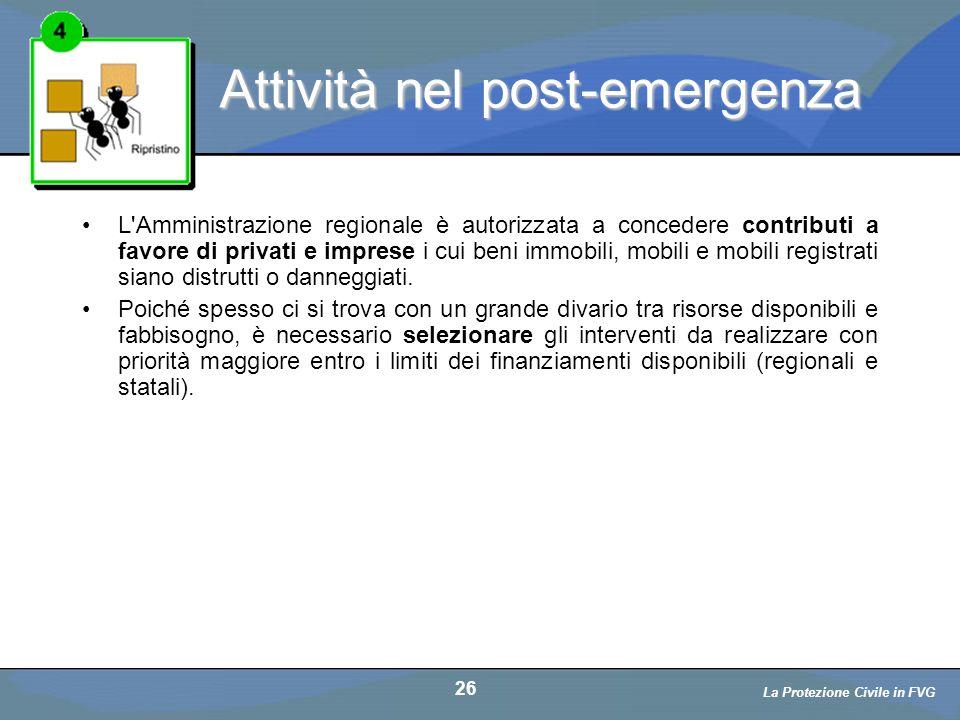 Attività nel post-emergenza