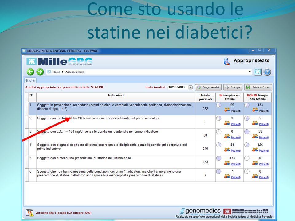 Come sto usando le statine nei diabetici