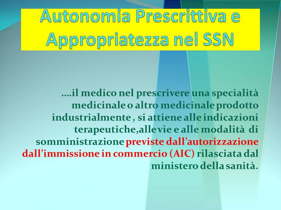 Autonomia Prescrittiva e Appropriatezza nel SSN