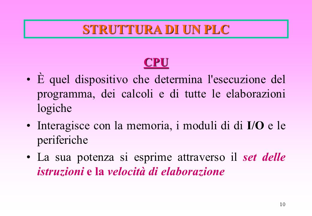 STRUTTURA DI UN PLC CPU. È quel dispositivo che determina l esecuzione del programma, dei calcoli e di tutte le elaborazioni logiche.
