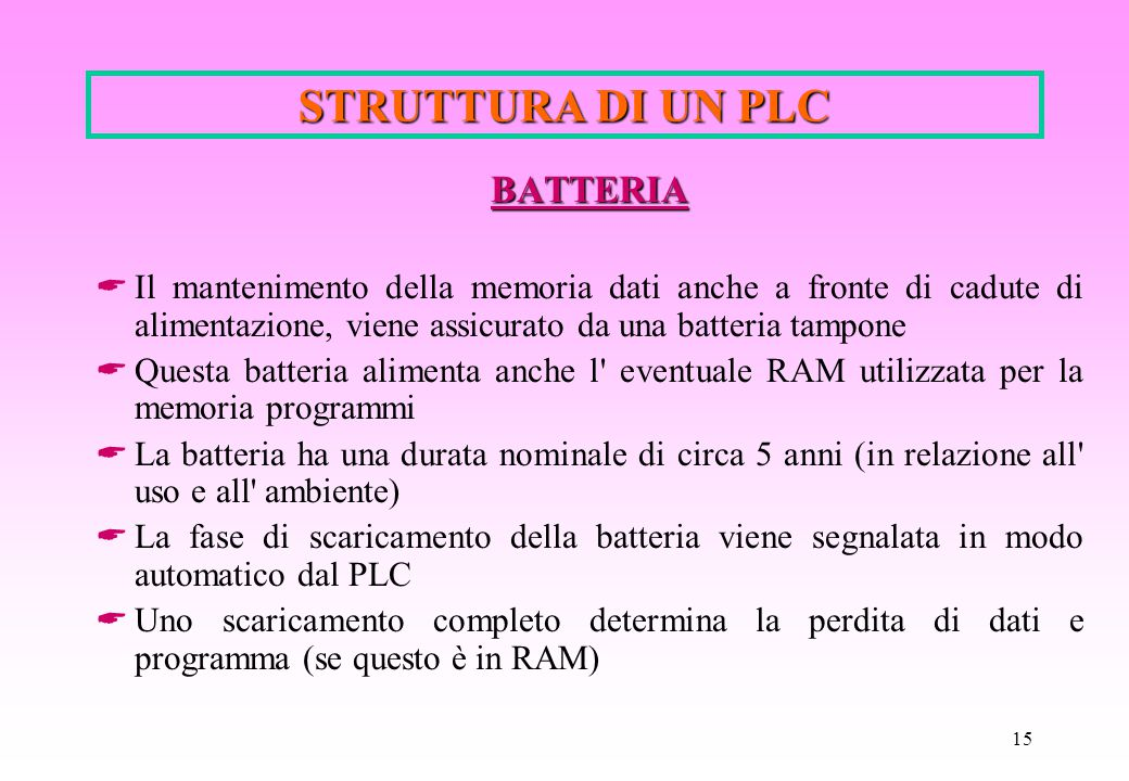 STRUTTURA DI UN PLC BATTERIA