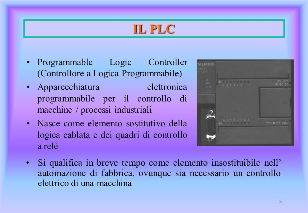 IL PLC Programmable Logic Controller (Controllore a Logica Programmabile)
