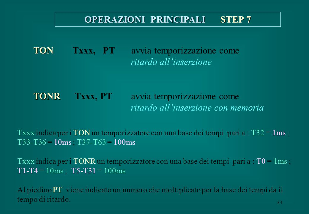 OPERAZIONI PRINCIPALI STEP 7