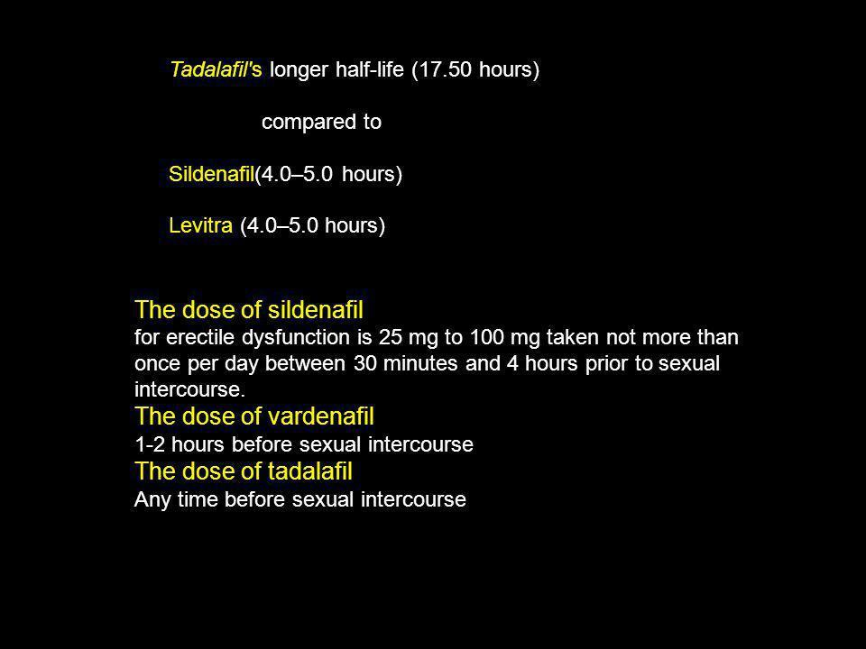 The dose of sildenafil The dose of vardenafil The dose of tadalafil