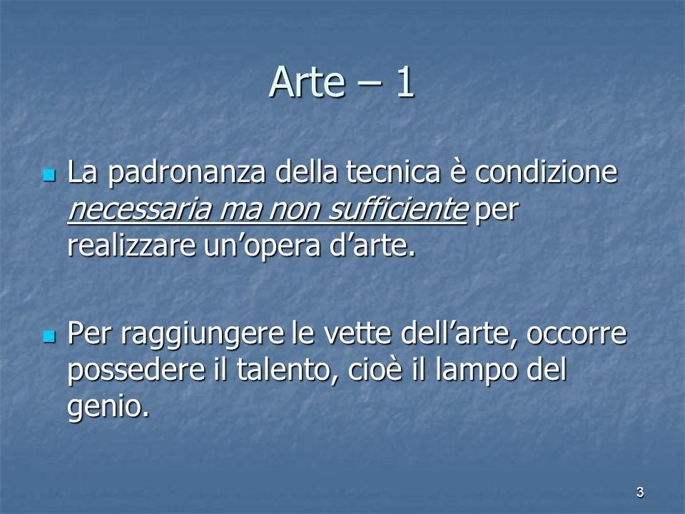 Arte – 1 La padronanza della tecnica è condizione necessaria ma non sufficiente per realizzare un'opera d'arte.