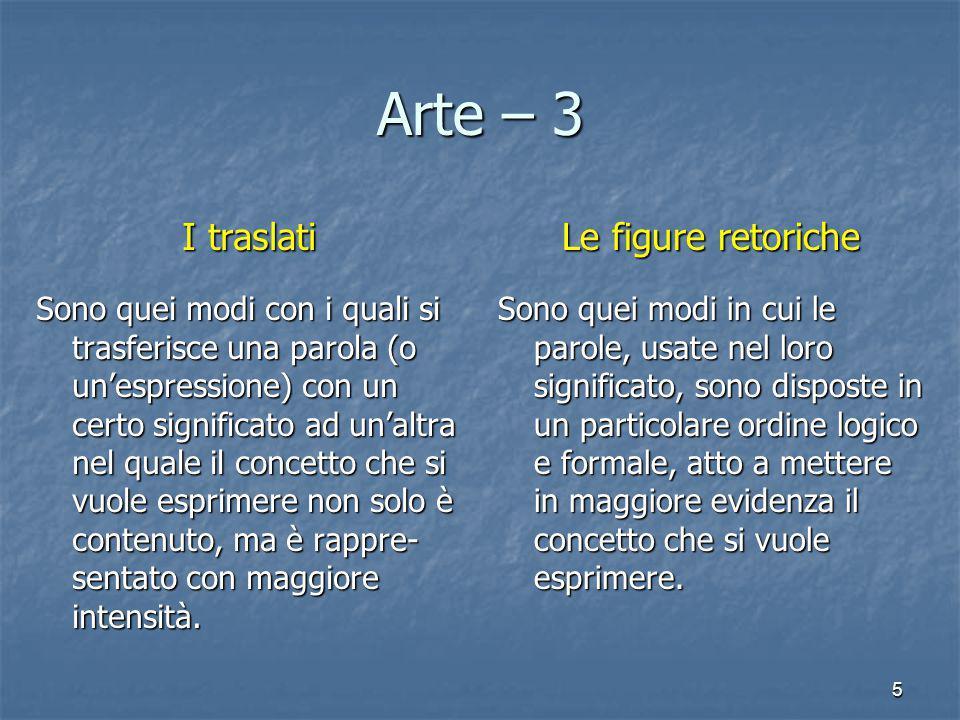 Arte – 3 I traslati Le figure retoriche