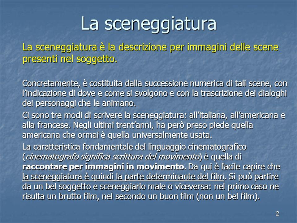 La sceneggiatura La sceneggiatura è la descrizione per immagini delle scene presenti nel soggetto.