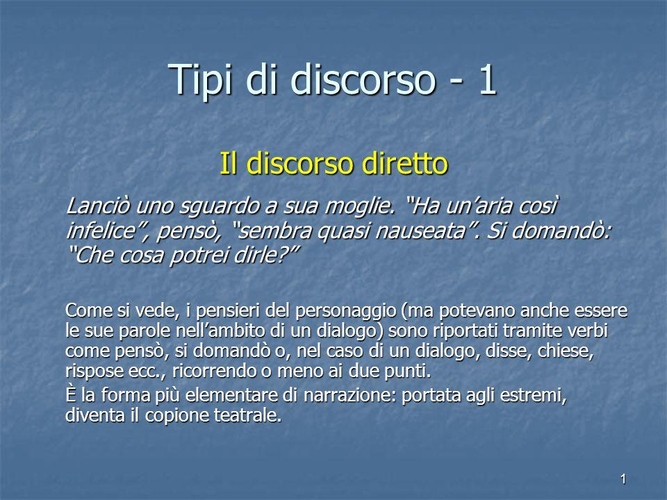 Tipi di discorso - 1 Il discorso diretto