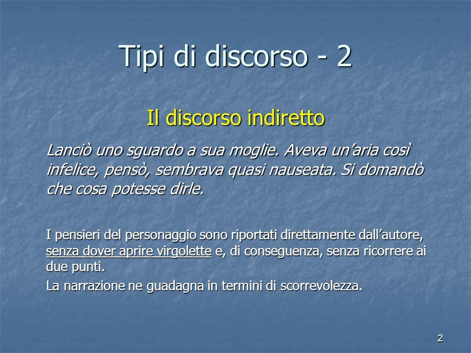 Tipi di discorso - 2 Il discorso indiretto