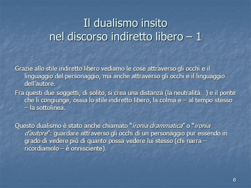 Il dualismo insito nel discorso indiretto libero – 1