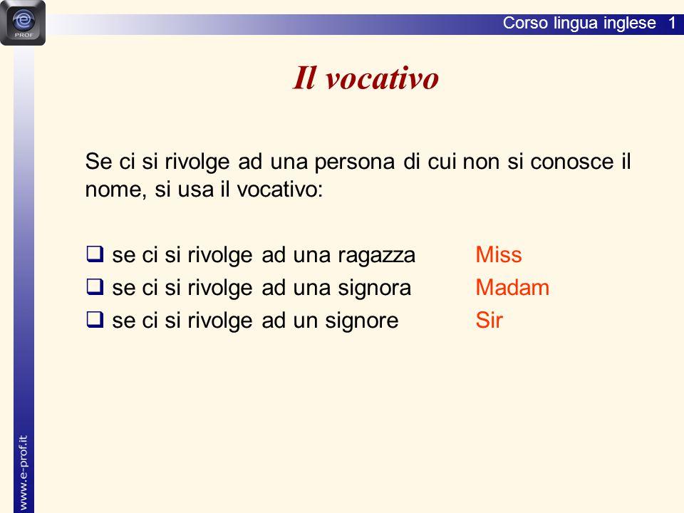 Lingua inglese 1 Il vocativo. Se ci si rivolge ad una persona di cui non si conosce il nome, si usa il vocativo: