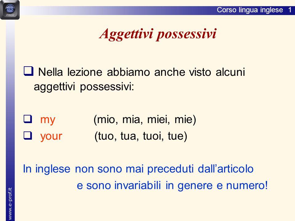 Lingua inglese 1 Aggettivi possessivi. Nella lezione abbiamo anche visto alcuni aggettivi possessivi: