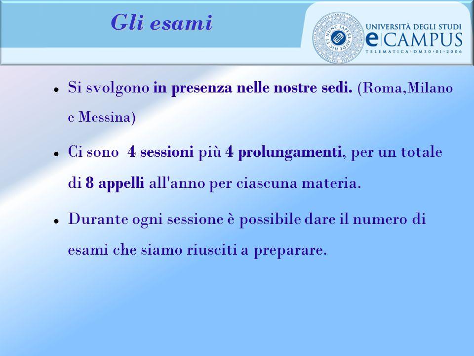 Gli esami Si svolgono in presenza nelle nostre sedi. (Roma,Milano e Messina)