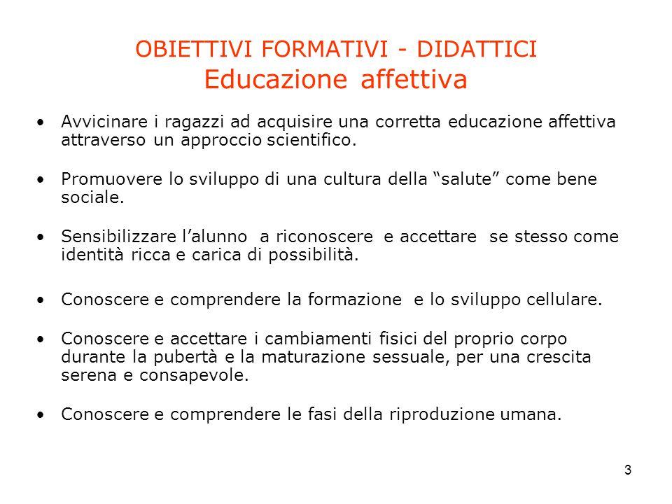 OBIETTIVI FORMATIVI - DIDATTICI Educazione affettiva