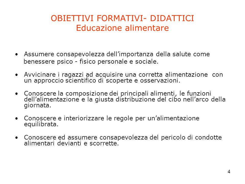 OBIETTIVI FORMATIVI- DIDATTICI Educazione alimentare