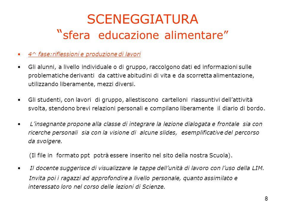 SCENEGGIATURA sfera educazione alimentare