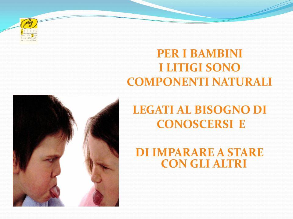 06/04/2017 PER I BAMBINI I LITIGI SONO COMPONENTI NATURALI LEGATI AL BISOGNO DI CONOSCERSI E DI IMPARARE A STARE CON GLI ALTRI