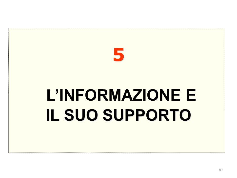 5 L'INFORMAZIONE E IL SUO SUPPORTO