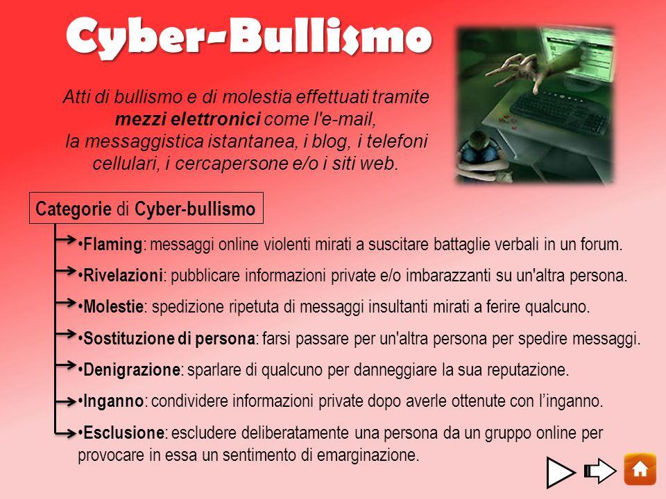 Cyber-Bullismo Categorie di Cyber-bullismo