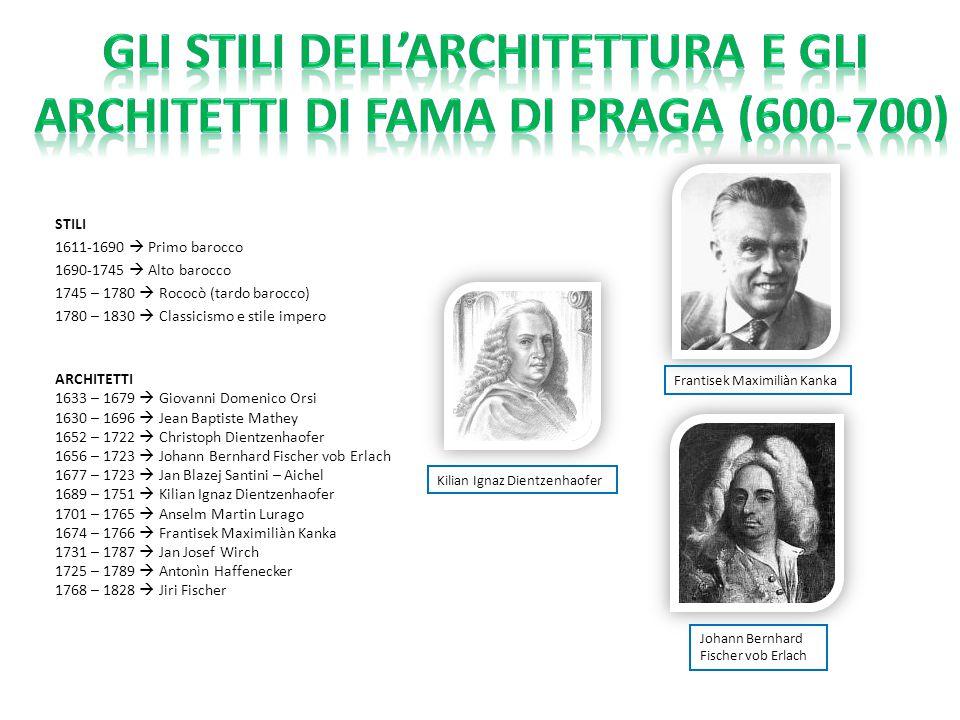 Gli stili dell'architettura e gli architetti di fama di praga (600-700)
