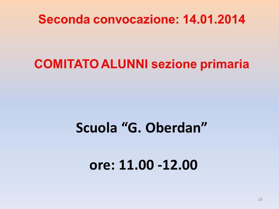 Scuola G. Oberdan ore: 11.00 -12.00