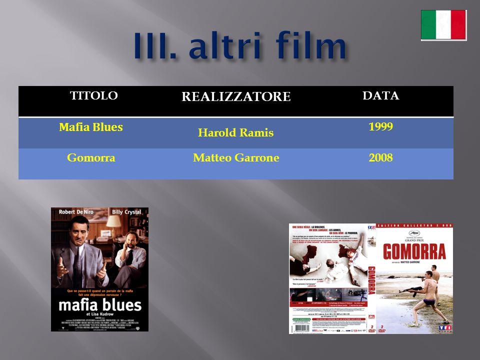 III. altri film REALIZZATORE TITOLO DATA Mafia Blues Harold Ramis 1999