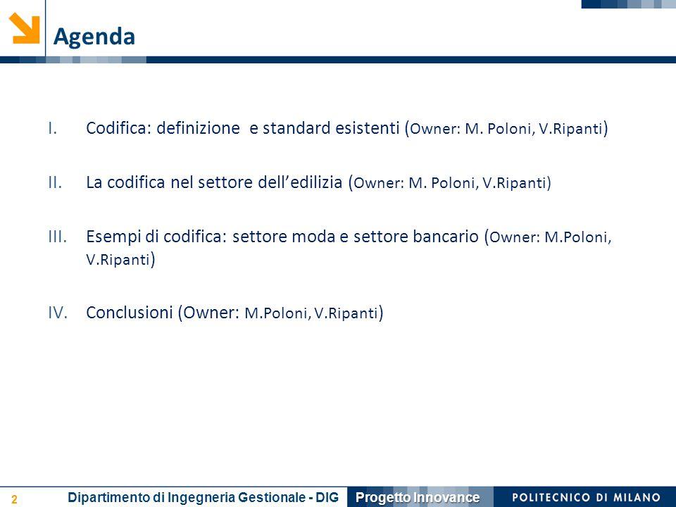 Agenda Codifica: definizione e standard esistenti (Owner: M. Poloni, V.Ripanti) La codifica nel settore dell'edilizia (Owner: M. Poloni, V.Ripanti)