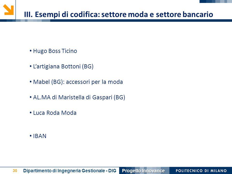 III. Esempi di codifica: settore moda e settore bancario