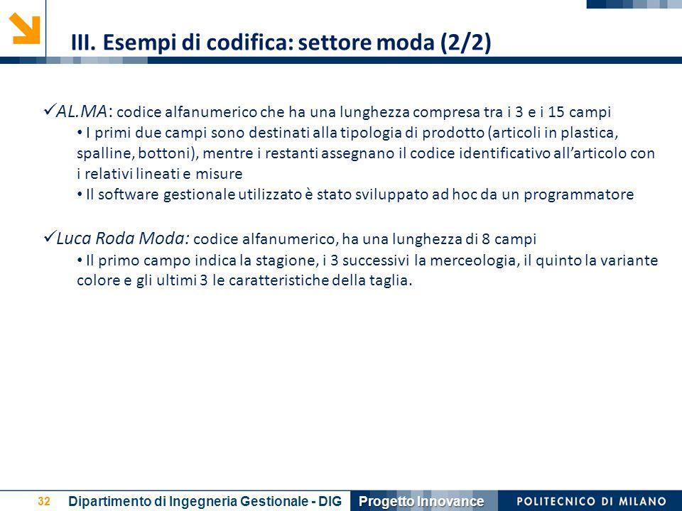 III. Esempi di codifica: settore moda (2/2)