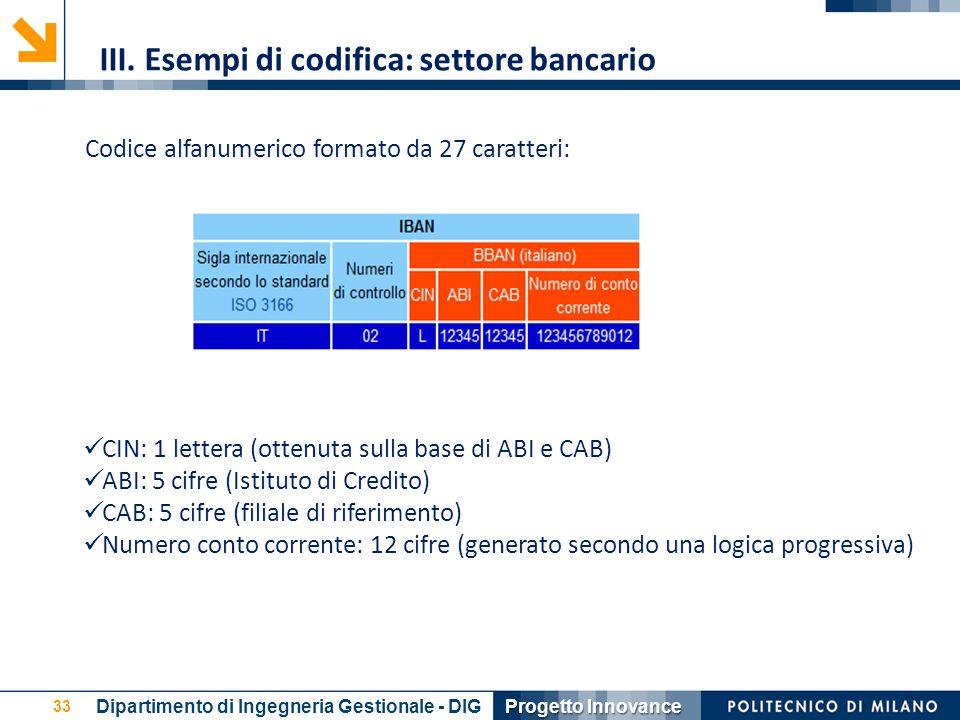 III. Esempi di codifica: settore bancario