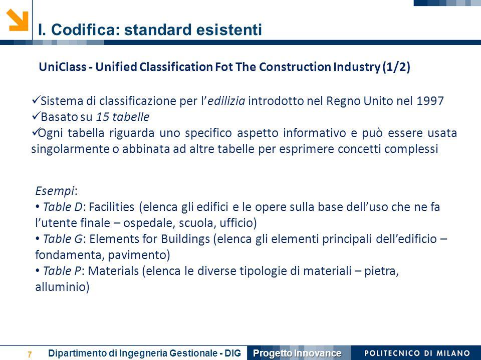 I. Codifica: standard esistenti