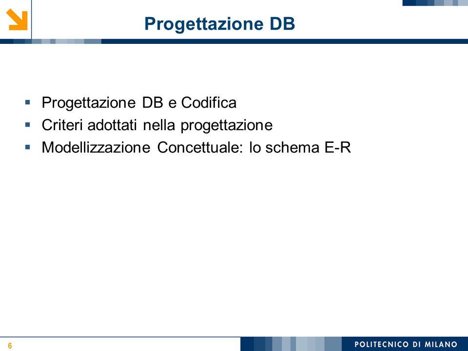 Progettazione DB Progettazione DB e Codifica