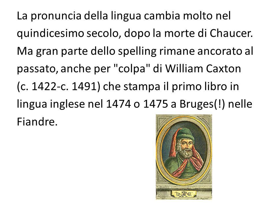 La pronuncia della lingua cambia molto nel quindicesimo secolo, dopo la morte di Chaucer.