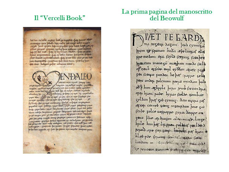 La prima pagina del manoscritto del Beowulf