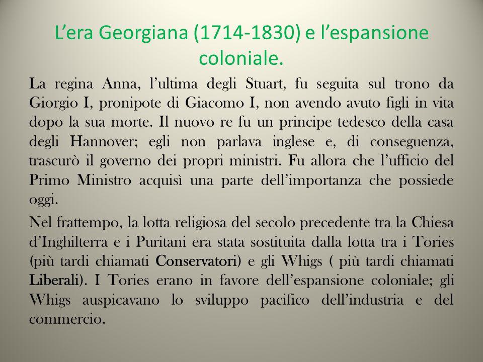 L'era Georgiana (1714-1830) e l'espansione coloniale.