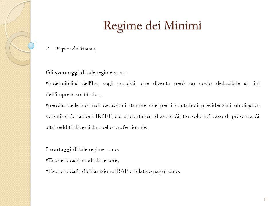 Regime dei Minimi Regime dei Minimi Gli svantaggi di tale regime sono: