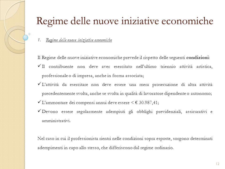 Regime delle nuove iniziative economiche