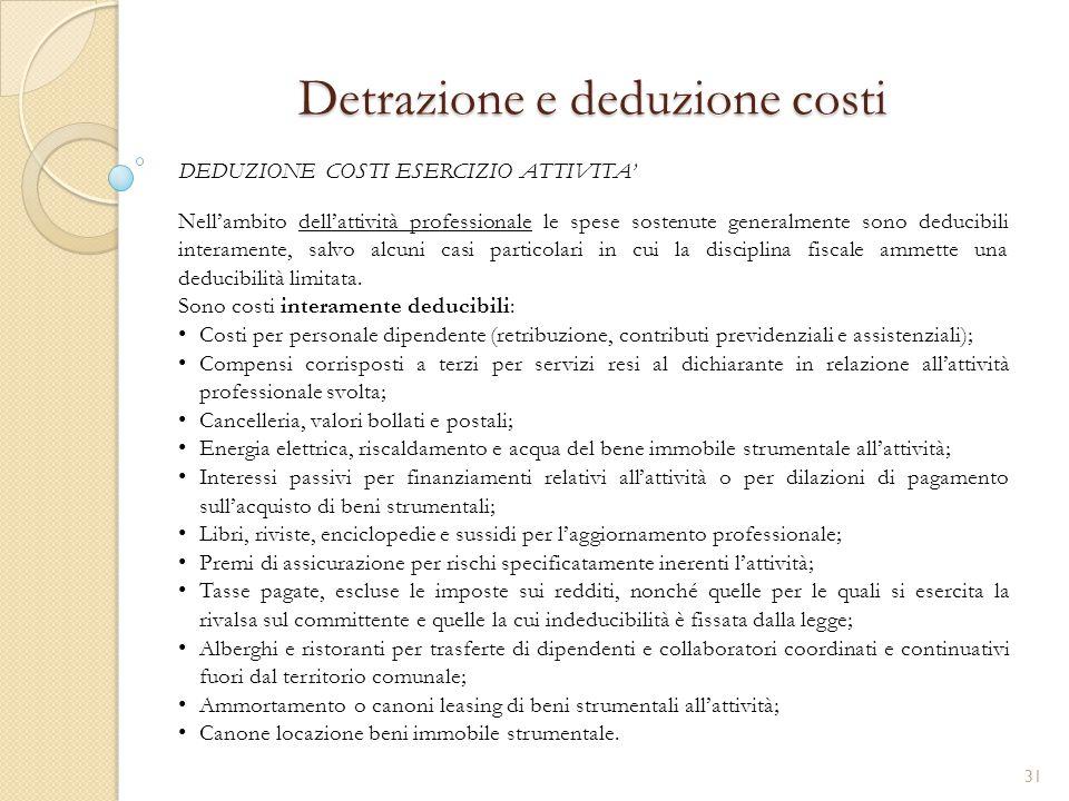 Detrazione e deduzione costi
