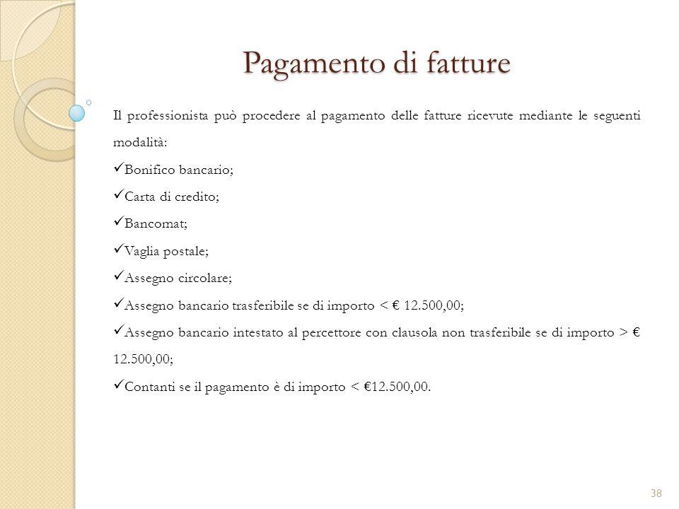 Pagamento di fatture Il professionista può procedere al pagamento delle fatture ricevute mediante le seguenti modalità: