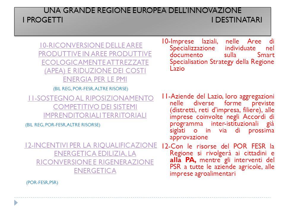 UNA GRANDE REGIONE EUROPEA DELL'INNOVAZIONE I PROGETTI I DESTINATARI
