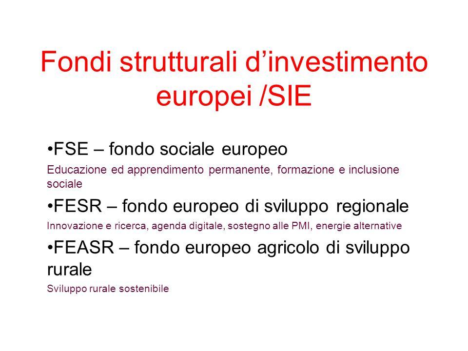 Fondi strutturali d'investimento europei /SIE