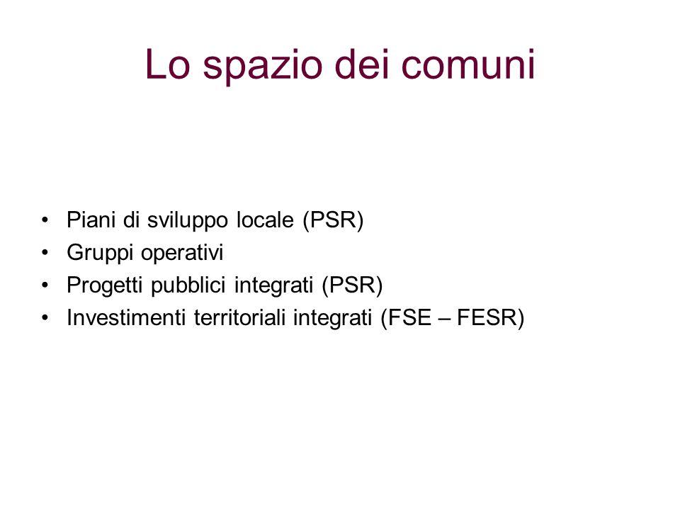 Lo spazio dei comuni Piani di sviluppo locale (PSR) Gruppi operativi