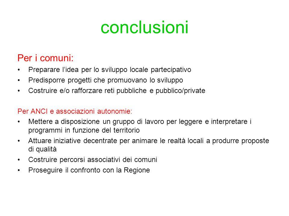 conclusioni Per i comuni: