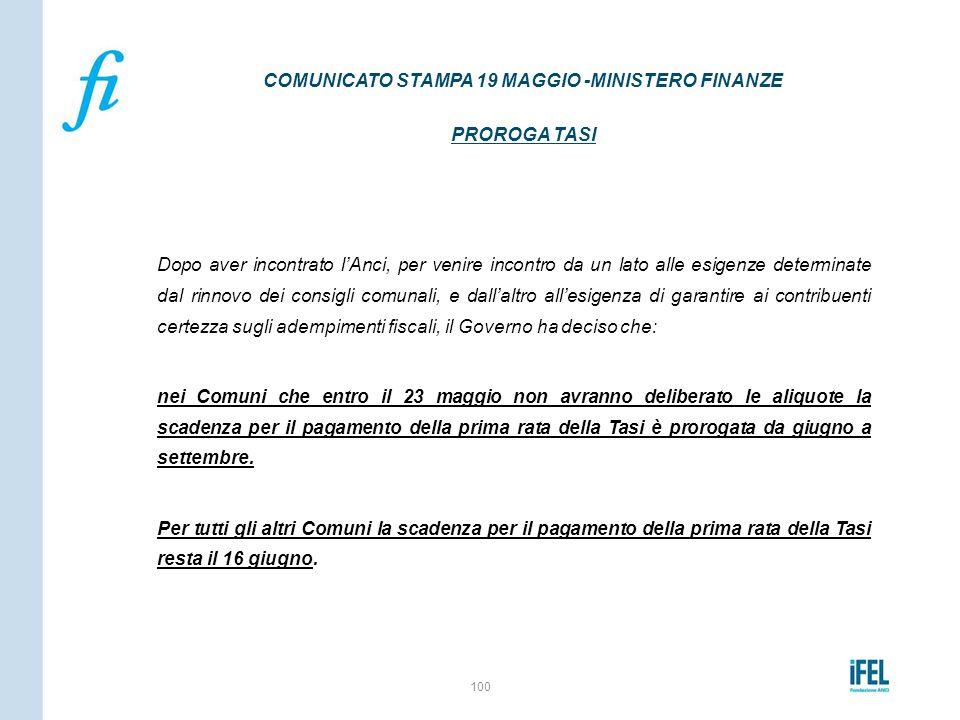 COMUNICATO STAMPA 19 MAGGIO -MINISTERO FINANZE PROROGA TASI