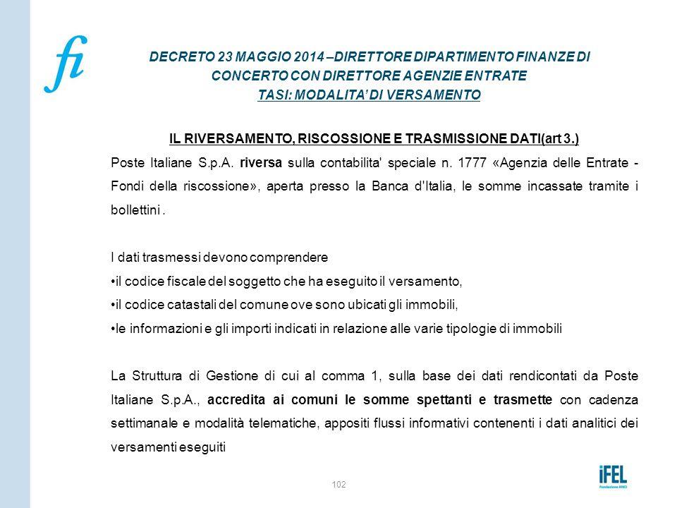 IL RIVERSAMENTO, RISCOSSIONE E TRASMISSIONE DATI(art 3.)