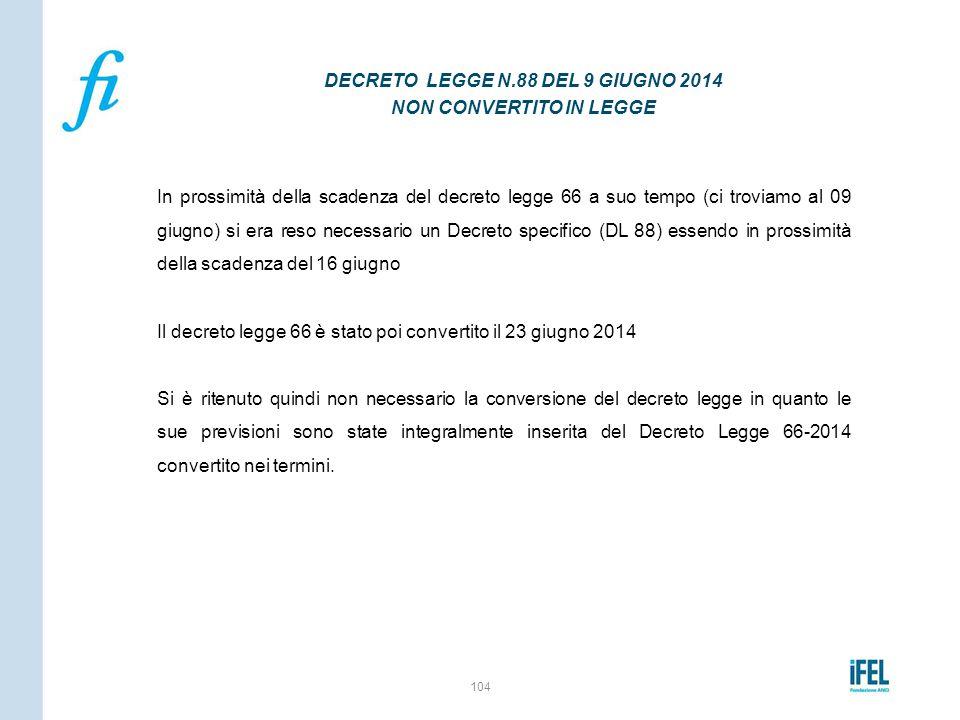 DECRETO LEGGE N.88 DEL 9 GIUGNO 2014 NON CONVERTITO IN LEGGE