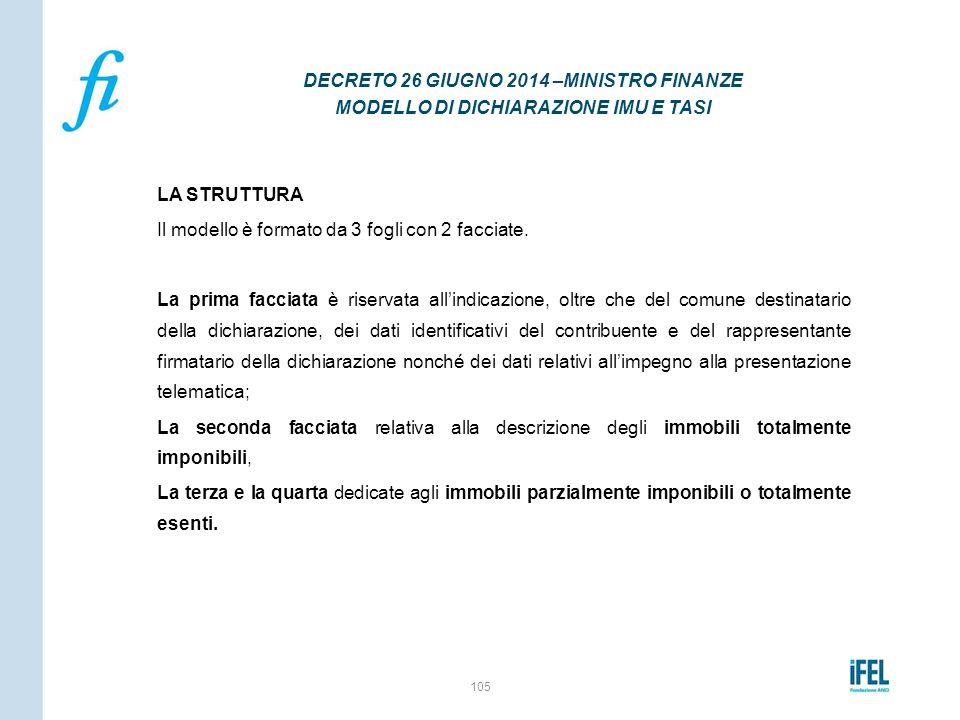 DECRETO 26 GIUGNO 2014 –MINISTRO FINANZE MODELLO DI DICHIARAZIONE IMU E TASI